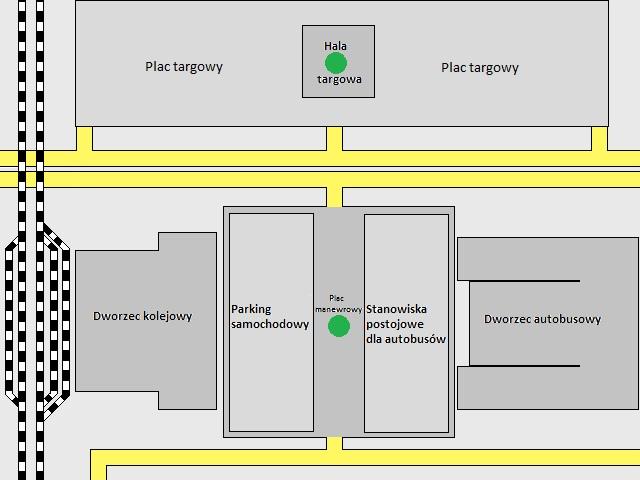Mapa obszaru. Zielone punkty to miejsca ewakuacji