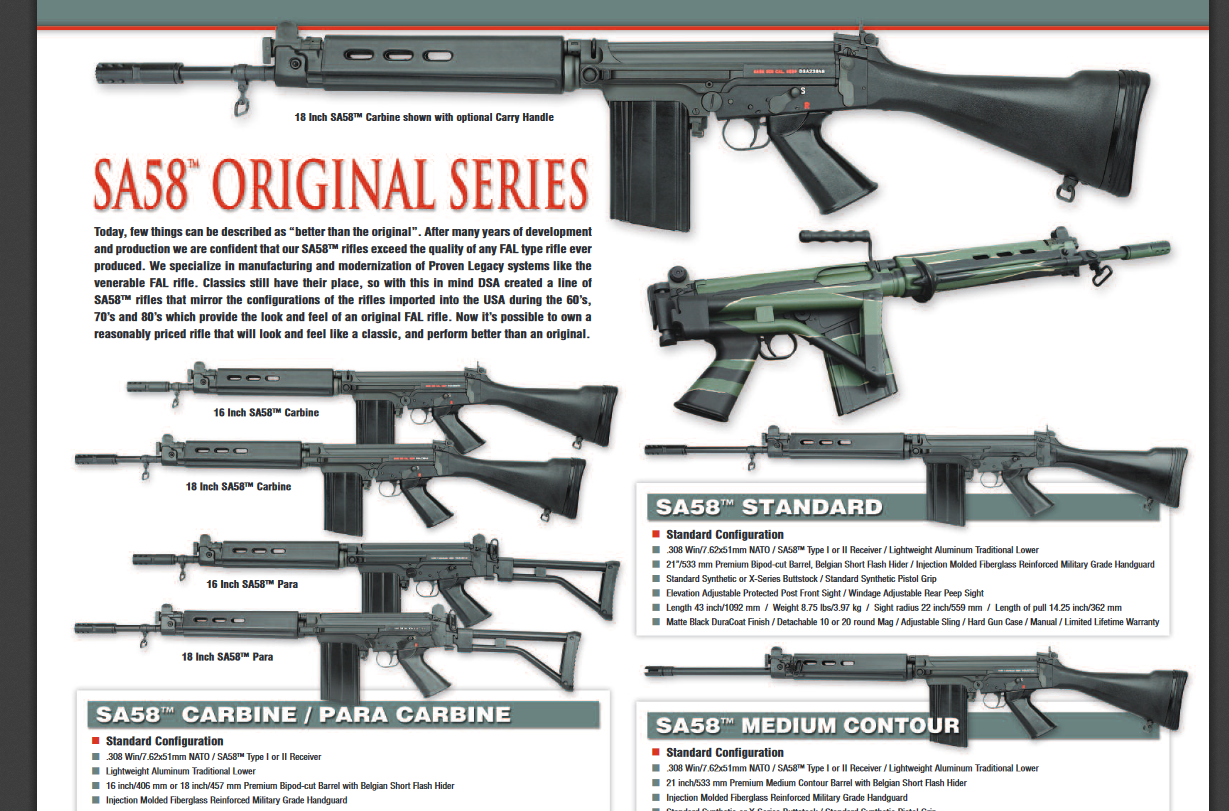 How many of the SA-58 manufacturer's parts and configurations