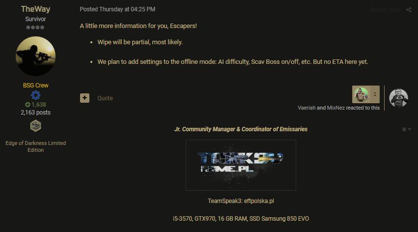 Next Wipe - Off-topic - Escape from Tarkov Forum