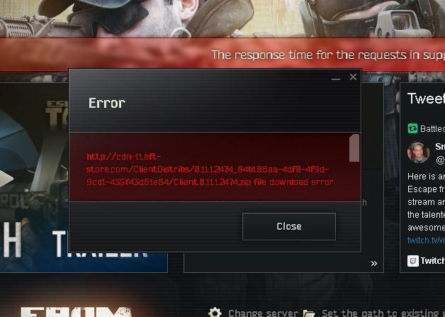 escape from tarkov download error
